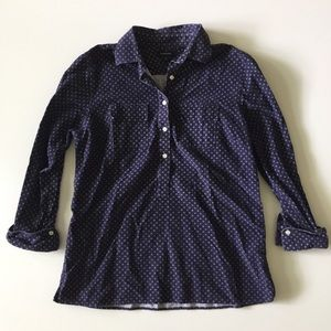 Lands End Blue Corduroy 1/2 Button Up Shirt M L